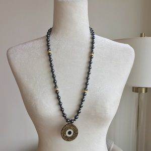 Jewelry - Hematites necklace evil eye long gemstone